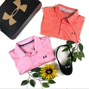 Lot of 2 Under Armour Polo Heat Gear Shirts Collar
